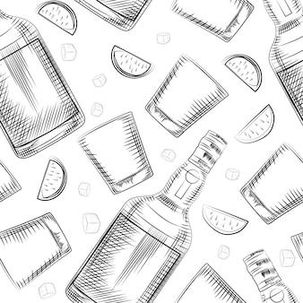 Ручной обращается старомодный стакан, лайм, бутылка алкоголя и кубик льда бесшовный фон