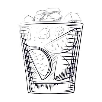 手描きのスケッチカクテル。アルコール飲料カクテル。