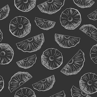 パイナップルフルーツスライスは、シームレスなパターンをスケッチします。エキゾチックなトロピカルフルーツの背景。