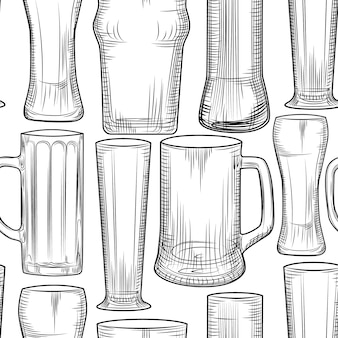 空のビールジョッキのシームレスパターン