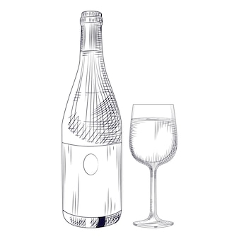 手描きのワインボトルとグラス