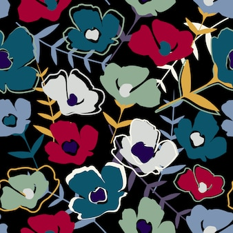 現代の抽象的なシンプルな小さな花と葉の無限の壁紙。