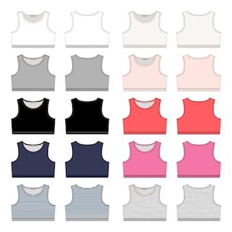 Набор девушек технического эскиза спортивный бюстгальтер. шаблон дизайна нижнего белья женщин спорта.