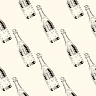 シャンパンボトルのシームレスパターン