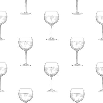 白い背景の上のワイングラスのシームレスなパターン。