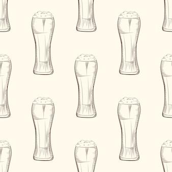 Полный бокал пива бесшовные модели.