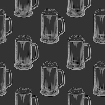 Пивная кружка бесшовные модели. полные пивные бокалы с пеной.