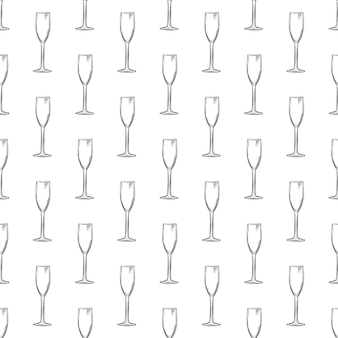 フルートガラス。手描きの空のシャンパングラススケッチシームレスパターン。