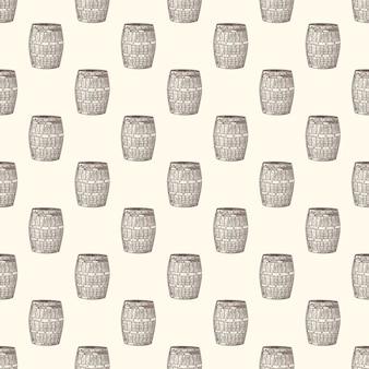 手描き下ろし木製樽シームレスパターン。ビンテージスタイルの彫刻。