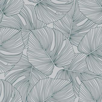 モンステラは、シームレスなパターンを残します。熱帯パターン、植物の葉