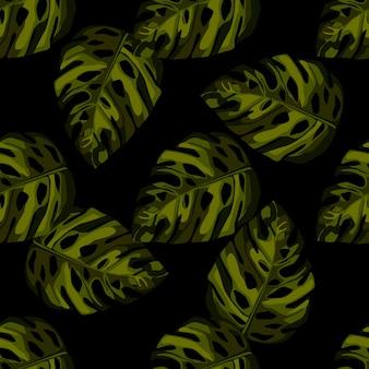 モンステラの葉のシームレスパターン