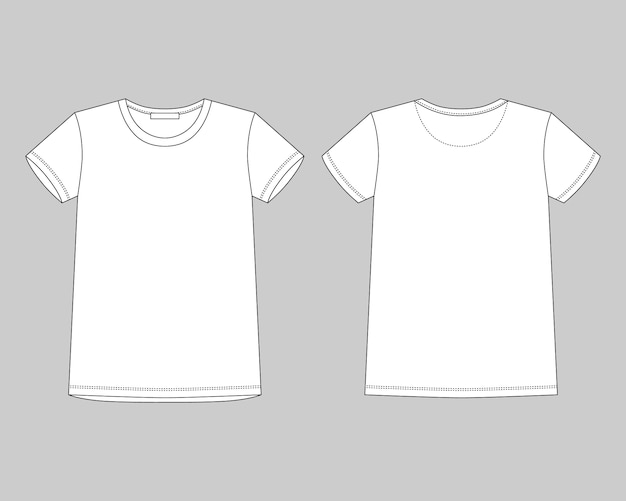 Технический эскиз унисекс футболка на сером фоне