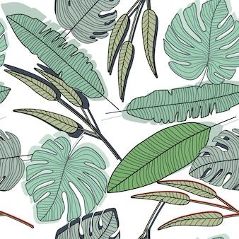 アウトラインは、シームレスなパターンを残します。葉の無限の壁紙。