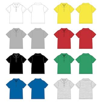 Набор технического эскиза шаблона футболки поло.