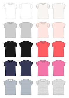 Набор набросков технического эскиза детской футболки