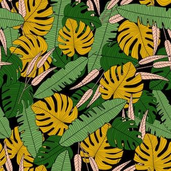 エキゾチックな熱帯ベクトルシームレスパターン。モダンな熱帯のヤシの葉の壁紙。