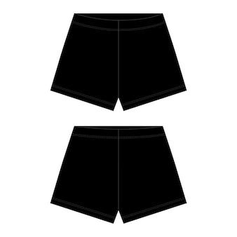 Технический эскиз унисекс шорты в черный цвет. наброски шорт брюк.