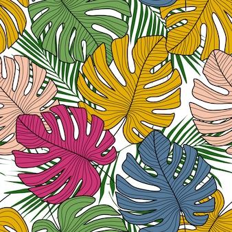 Тропический бесшовный узор с экзотическими листьями монстера