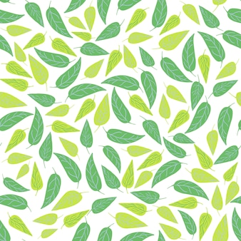 Зеленый лес оставляет бесшовные модели. ботанический дизайн для ткани