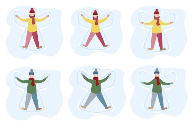 Маленькая девочка и мальчик наслаждаются первым снегопадом. дети делая иллюстрацию шаржа снежного ангела.