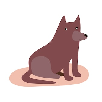 かわいい面白い漫画の茶色の犬。フラットベクトル分離図