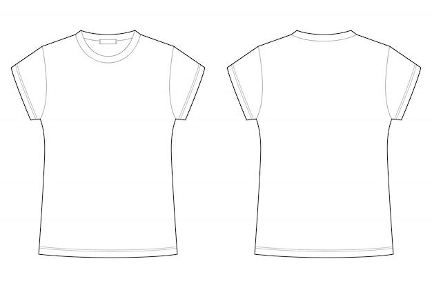 Иллюстрация шаблона пробела футболки детей изолированная на белой предпосылке. технический эскиз футболки.