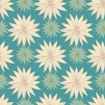 モダンなラインアート芽デイジーシームレスパターン。幾何学的な花の壁紙。