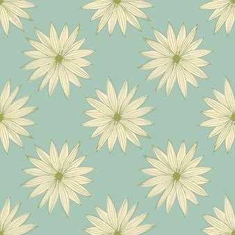 青の背景に抽象的なラインアート芽デイジーシームレスパターン。幾何学的な花の壁紙。