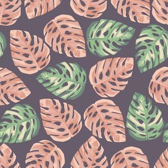 Случайный бесшовный узор с листьями монстера. зеленая и розовая листва на фиолетовом фоне. простой дизайн