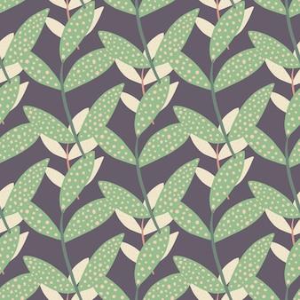 Случайно расположенные зеленые и бежевые ветви на светло-фиолетовом фоне. пунктирные листья.