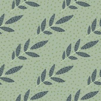 破線の枝を持つパステルスカンジナビアプリントパターン。ドットと明るい緑の背景。