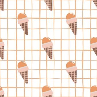 白の市松模様の背景のワッフルコーンアイスクリームと明るいシームレスパターン。