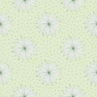 パステルグリーン色のドットと背景に花模様のレトロなパターン。ベクトルイラスト。