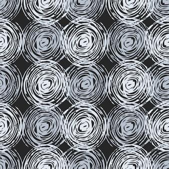 モノクロ色の円とのシームレスなパターン。暗い背景。