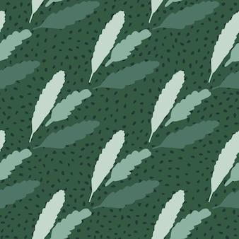 ドットと緑の背景に花柄の葉を持つ単純なシームレスな落書きパターン