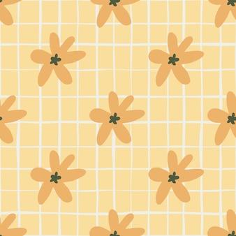 オレンジ色のデイジーの花と夏のシームレスなパターン。チェックとパステルライトオレンジ背景