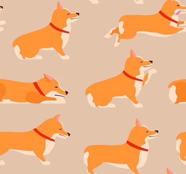 ポーズと感情犬のシームレスパターンのセットです。ウェールズコーギーセット。