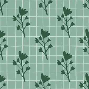濃い緑のトーンで花のシルエットとパステルのシームレスなパターン。チェックと青色の背景。包装紙、テキスタイル、ファブリックプリント、壁紙に最適です。図。