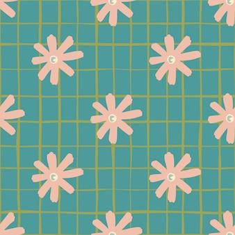 花のデイジーの抽象的なシームレスパターン。チェックと背景色が水色の柔らかいピンクの花の形。壁紙、包装紙、テキスタイルプリント、ファブリックに最適です。図。