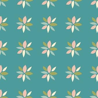 抽象的な花とのシームレスなパターン。ピンク、グリーン、ブルー、ホワイトの色の花びら。背景色が水色。壁紙、包装紙、テキスタイル、ファブリックプリントに使用できます。図。