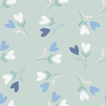 小枝と心のシンプルな抽象花柄シームレスパターン。柔らかい空の色の背景と青、白の要素。様式化されたアートワーク。