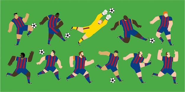 Изолированная группа в составе футболисты нося красные и голубые майки в различных положениях игры. редактируемая иллюстрация