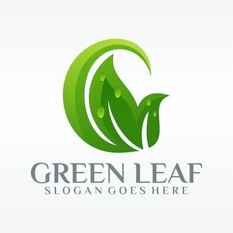 緑の葉の生態学の自然のロゴ