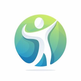 人間の救助のロゴのベクトル、テンプレート