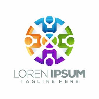 Шаблон логотипа человеческого круга