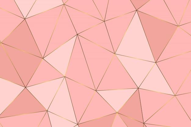 ローズゴールドの幾何学的抽象模様