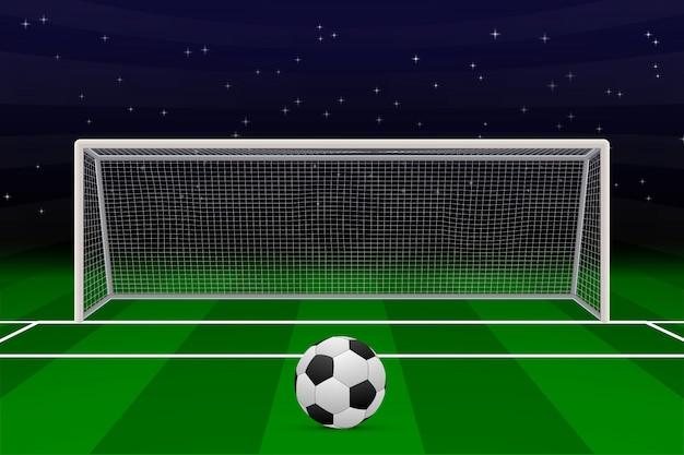 Реалистичные футбольные ворота на футбольном поле.
