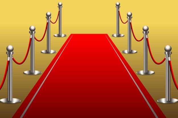 ロープバリア付き有名人のためのレッドカーペット