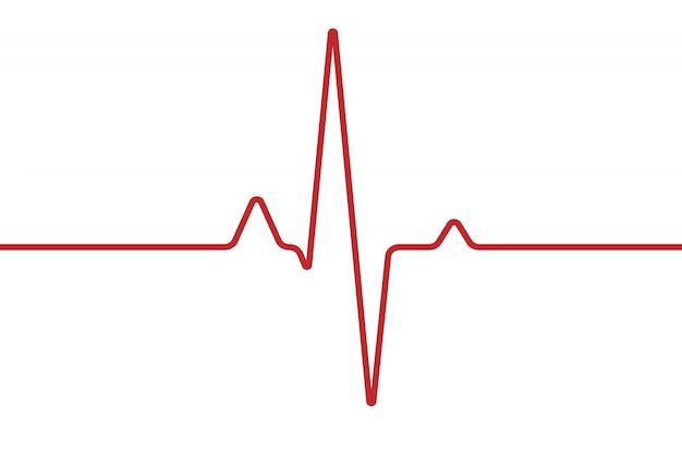 心臓の心電図、白で隔離