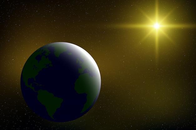 Реалистичное пространство с планетой земля во вселенной
